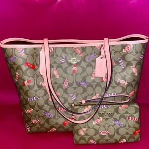 Coach Candy Print Large Tote and Wristlet